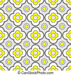 Abstract Geometric Seamless Pattern with Floral Ornament in Yellow and Grey color.