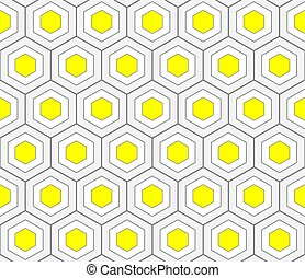 Abstract Geometric Seamless Pattern with Honeycomb Ornament in Yellow and Grey Color.