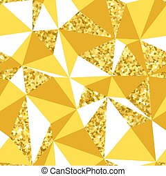 Abstract geometric seamless pattern with gold glitter texture