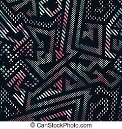 Abstract geometric seamless pattern with grunge effect