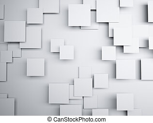 Abstract geometric shape 3d white cubes