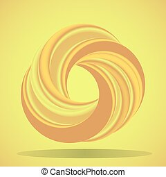Abstract geometric shape with torus-like figure on yellow background. Infinity sign. Cover design template. Vector Illustration.