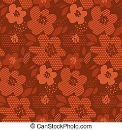 Abstract geometric shapes flower seamless pattern. Hot brown...
