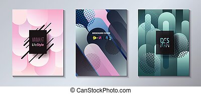 Abstract geometric shapes futuristic brochure covers set -...