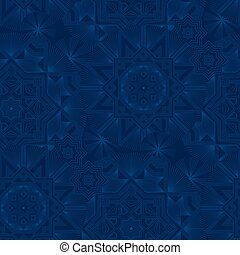 Abstract geometric snowflakes seamless blue background
