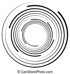 Abstract geometric spiral, ripple element with circular, concentric lines. Abstract monochrome element