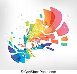 Abstract geometric splash on white background