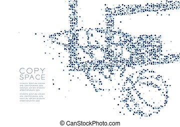 Abstract Geometric square box pattern Basketball Hoop Shooting shape, Sport concept design blue color illustration isolated on white background with copy space, vector eps 10