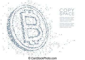 Abstract Geometric square box pattern Bitcoin cryptocurrency shape, Blockchain technology concept design blue color illustration isolated on white background with copy space, vector eps 10