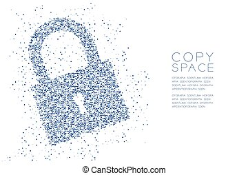 Abstract Geometric square box pattern Lock shape, Security privacy concept design blue color illustration isolated on white background with copy space, vector eps 10