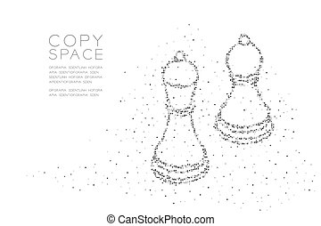 Abstract Geometric Square box pixel pattern Chess Bishop and pawn shape, Business strategy concept design black color illustration on white background with copy space, vector eps 10