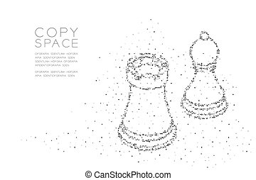 Abstract Geometric Square box pixel pattern Chess Rook and pawn shape, Business strategy concept design black color illustration on white background with copy space, vector eps 10