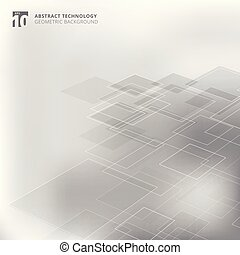 Abstract geometric squares shape pattern perspective technology gray color background.
