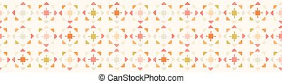 Abstract geometric star flowers, triangles, crosses. Hand drawn seamless vector border.