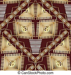 Abstract geometric vector seamless pattern. Black gold ethnic ba
