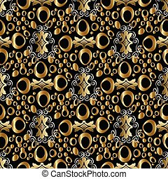 Abstract geometric vector seamless pattern. Gold vintage backgro