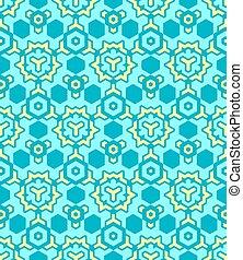 abstract geometric yellow blue seamless pattern