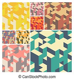 Abstract Geometrical 3d Background. Vector set.