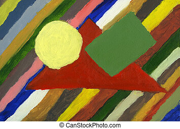 Abstract geometrical elements, oil painting
