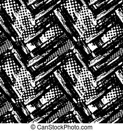 Abstract geometrical seamless rough grunge pattern, modern...
