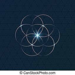 Abstract geometrical symbol on dark blue background