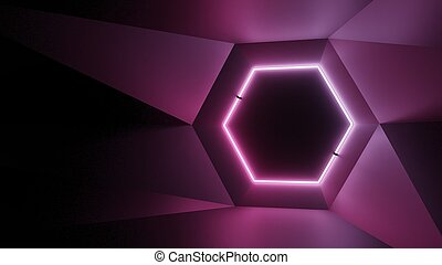 Abstract geometry lit by a neon magenta hexagonal lamp