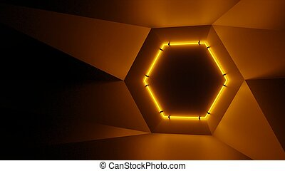 Abstract geometry lit by a neon orange hexagonal lamp