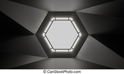 Abstract geometry lit by a neon white hexagonal lamp