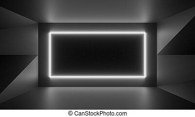 Abstract geometry lit by a neon white rectangle lamp