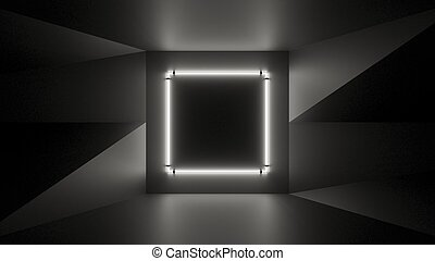 Abstract geometry lit by a neon white square lamp