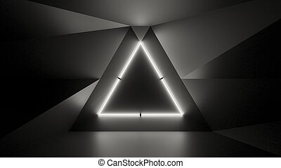 Abstract geometry lit by a neon white triangle lamp
