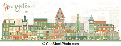 Abstract Georgetown Skyline with Color Buildings.