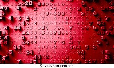 abstract, getallen, willekeurig, toevallig, motie, 3d,...