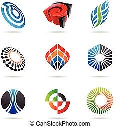 abstract, gevarieerd, 3, kleurrijke, iconen