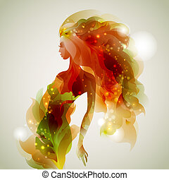 abstract  girl  - abstract decorative composition with girl