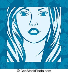 Abstract girl portrait. Beautiful woman vector silhouette