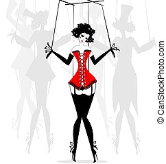 abstract girl-puppet in the red corset