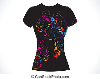 abstract girl tshirt floral design
