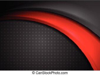 abstract, glad, golvend, zwarte achtergrond, rood