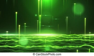 Abstract glamorous green field with flying lines HD
