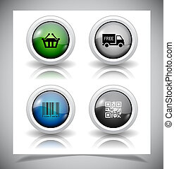 abstract, glas, buttons., eps10, file.