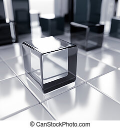 Abstract glass and blue metallic cubes on a white