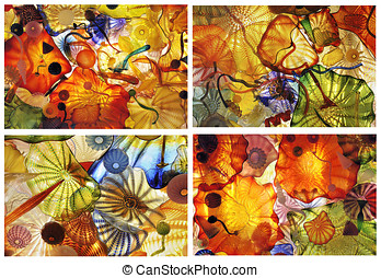 Abstract glass art collage - Beautiful collage of colorful...