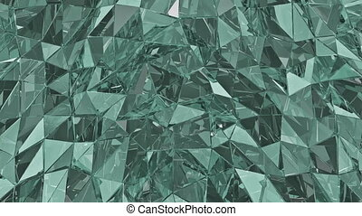 Abstract glass background. 3D render, polygonal surface. Loop, background