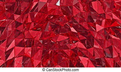 Abstract glass background. 3D render, polygonal surface. Red glass.loop, loop background