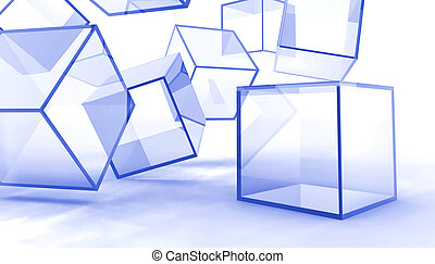 Abstract glass blue cubes on a white background