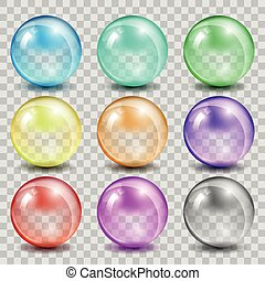 Abstract glass color spheres on transparent background