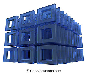 abstract glass construction on white background - 3d illustration