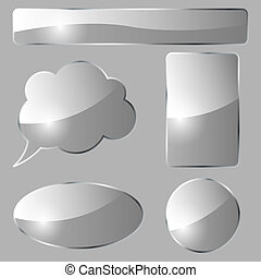 Abstract glass design vector elements isolated on gray background.