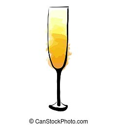Abstract glass of champagne cartoon style isolated on white